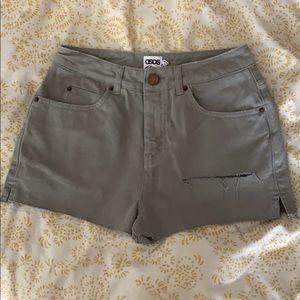 Asos Denim gray distressed shorts